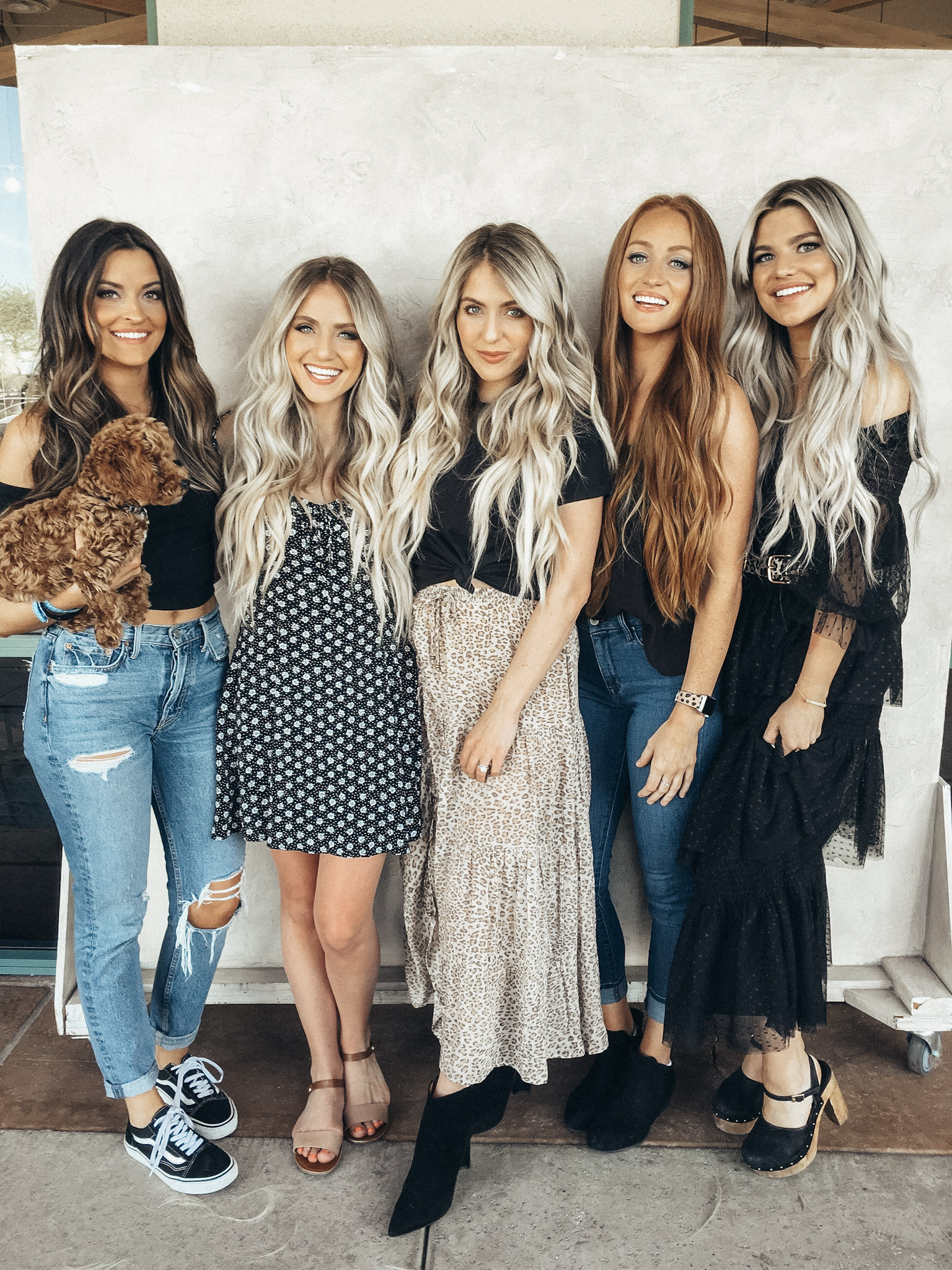 Tia Booth (from The Bachelor)  -  Savannah Labrant (my sister)  -  Me  -  Katie Yovin (Sav's friend form high school)  -  Kendall Hyzdu (her baby, Hazel, was born between the time Senna and Posie were)
